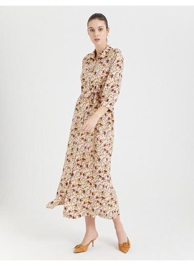 BGN Bej - Çiçek Desenli Uzun Gömlek Elbise Bej